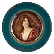 R.S. Prussia portrait plate Victorian woman blue beehive mark