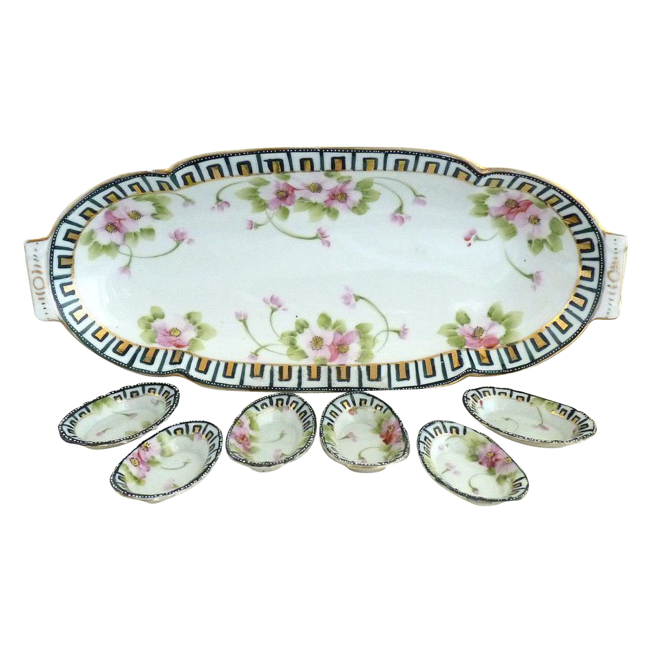 Japan porcelain celery tray salts Nippon mark hand painted