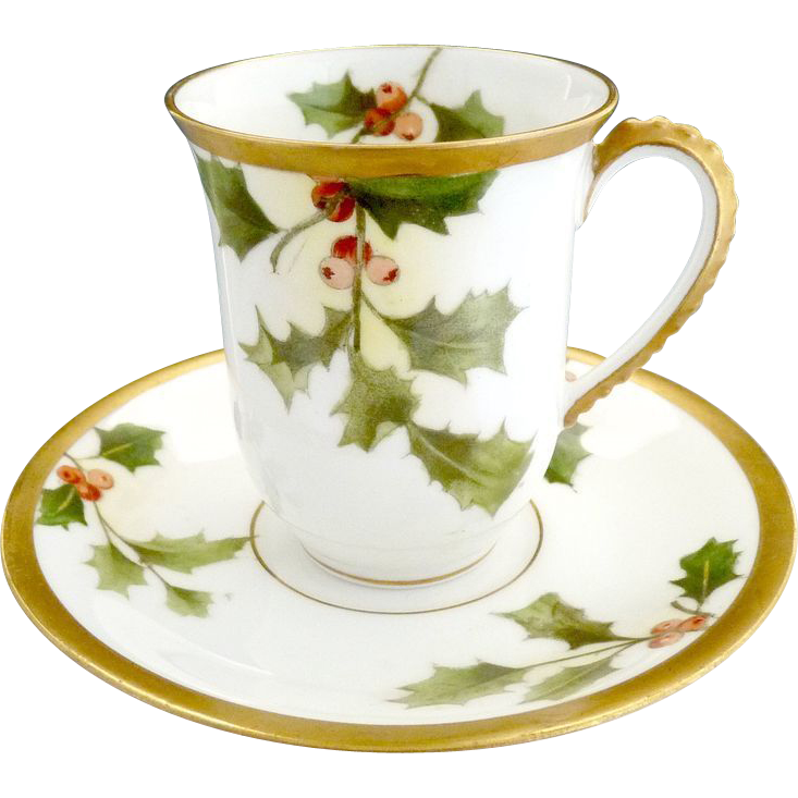 Limoges Porcelain Christmas Cup Saucer Holly Berry Gold A
