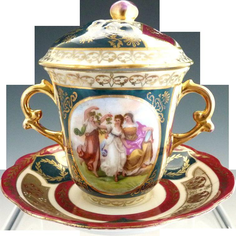 Antique porcelain trembleuse cup saucer Austria Wheelock c. 1890s