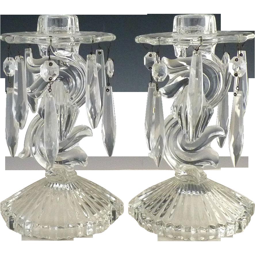 Vintage glass bobeche candlesticks c. 1937