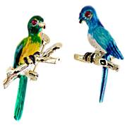 Vintage parakeet scatter pins hand enameled jeweled eyes