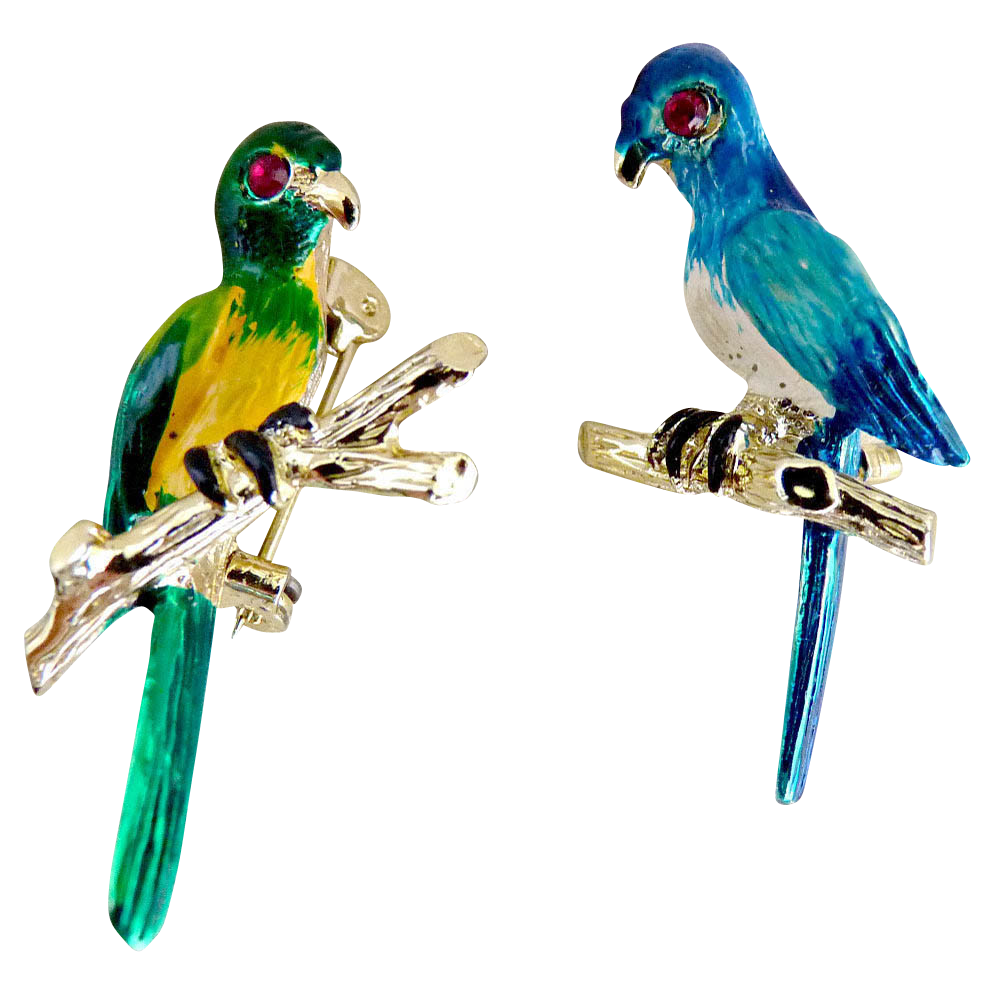 Vintage parakeet scatter pins hand enameled jeweled eyes
