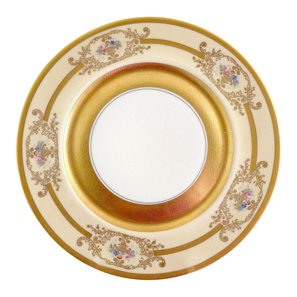 Pickard porcelain charger hand painted gold tapestry