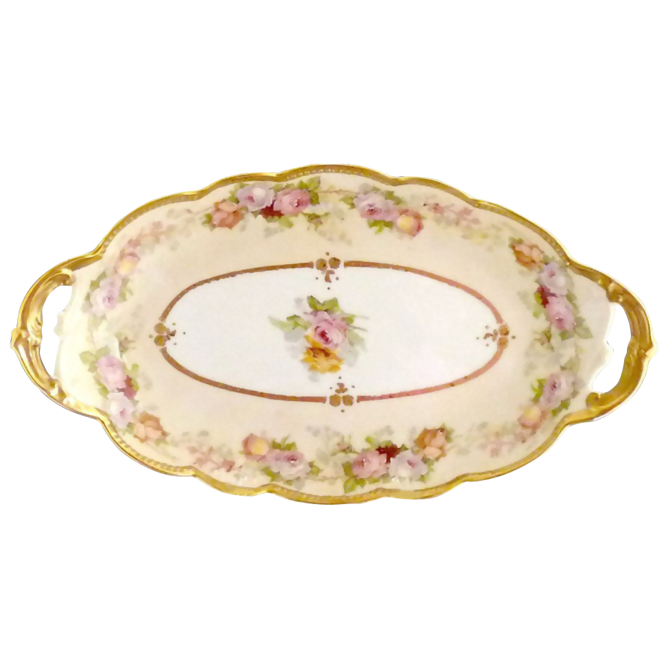Limoges porcelain ice cream dessert tray pink roses coin gold