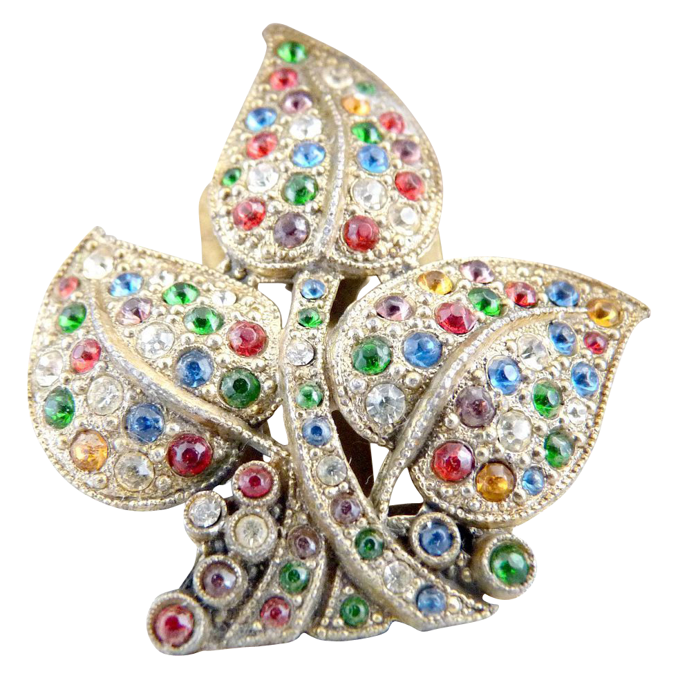 Vintage fur clip leaf shaped multi colored rhinestones coat clip