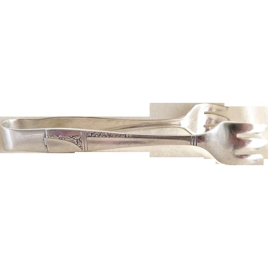 Vintage silver sugar tongs floral design Nobility