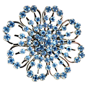 Vintage flower brooch ice blue rhinestones c. 1950s