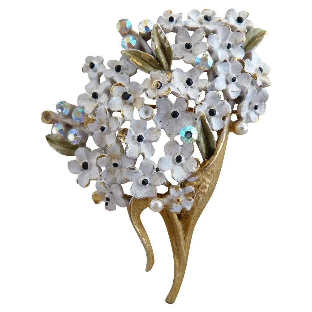 vintage weiss brooch white enameled daisies from. Black Bedroom Furniture Sets. Home Design Ideas