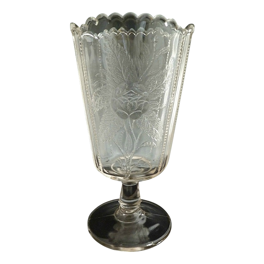 Antique glass celery vase moss rose c. 1890