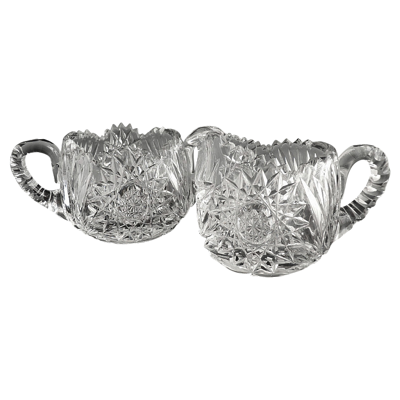 Brilliant cut glass sugar bowl cream pitcher starburst