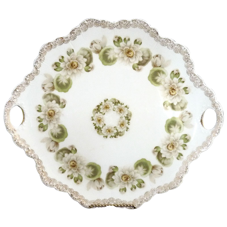 Antique cake plate Rosenthal Malmaison c. 1901 water lilies