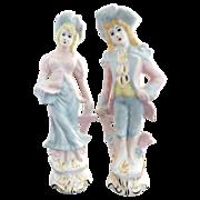 Vintage figurines Japanese porcelain c. 1940s 18th Century dress