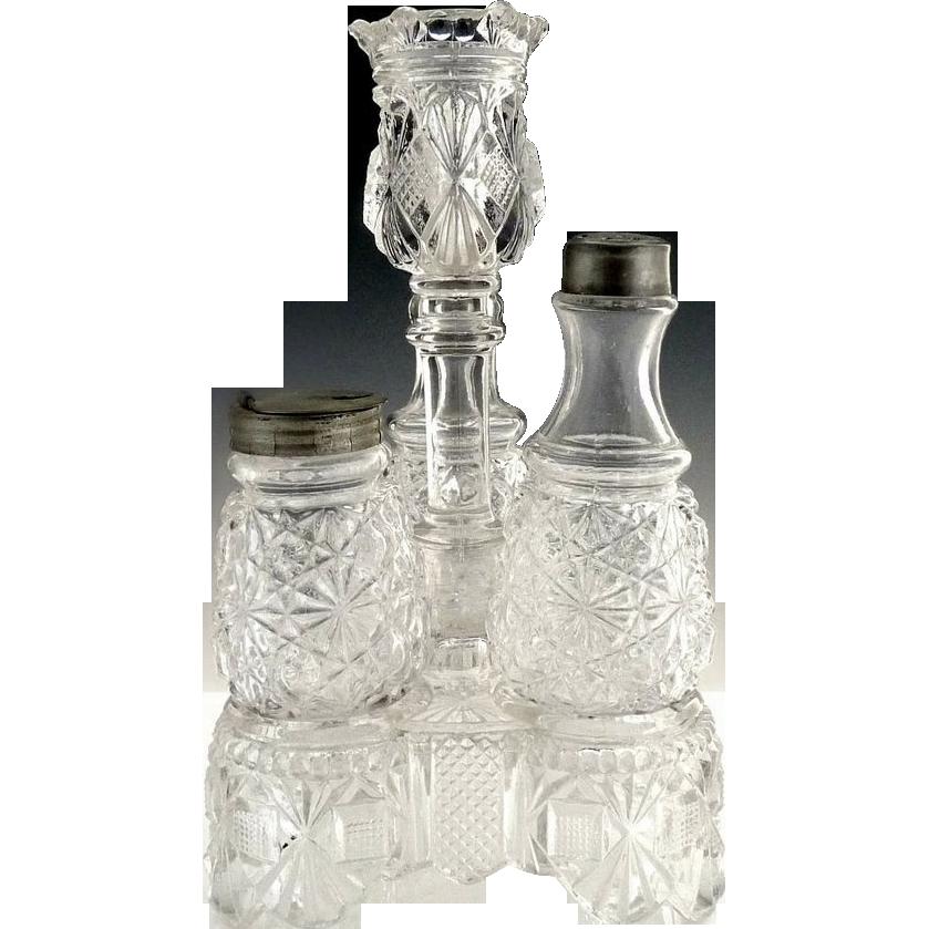 Antique glass condiment castor set toothpick holder EAPG
