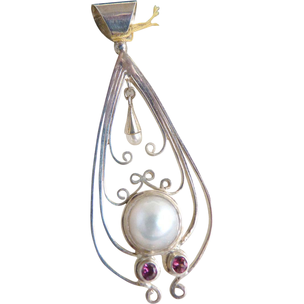 Vintage silver pendant amethyst faux pearl dangle