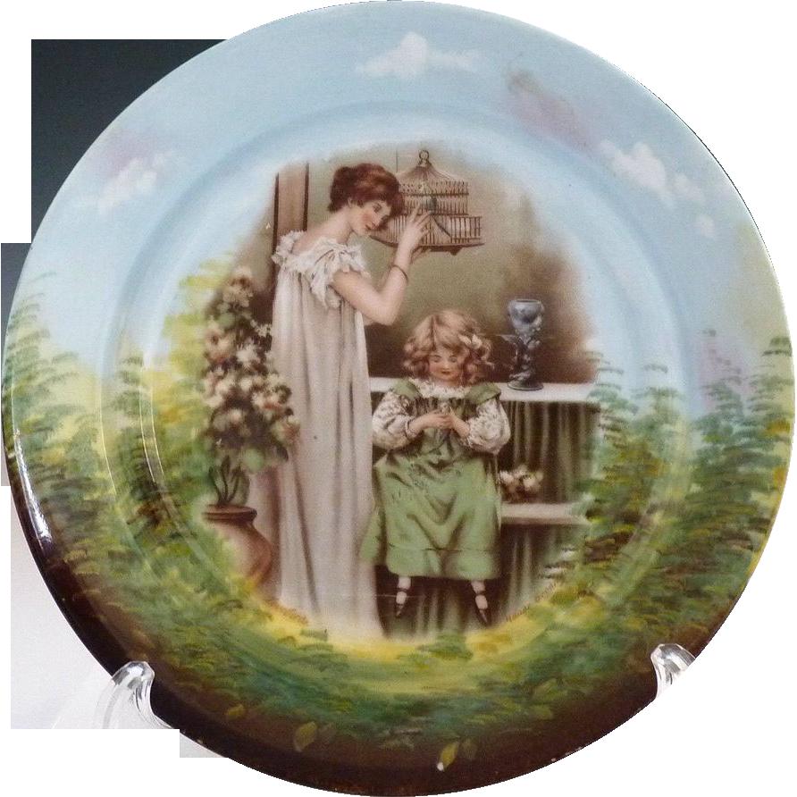 Antique Austria portrait plate Lovebirds by Maude Goodman c. 1900