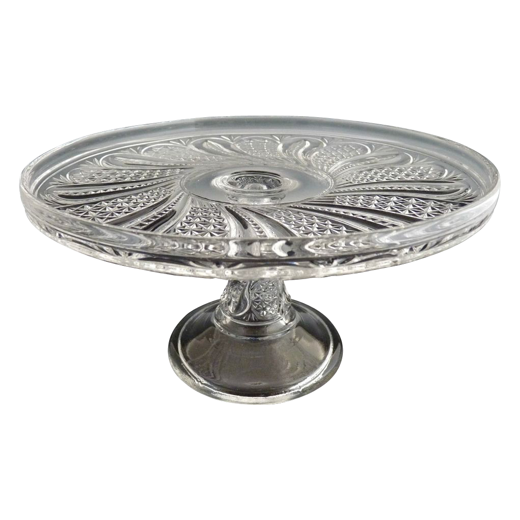 McKee antique glass cake stand salver Doric Feather