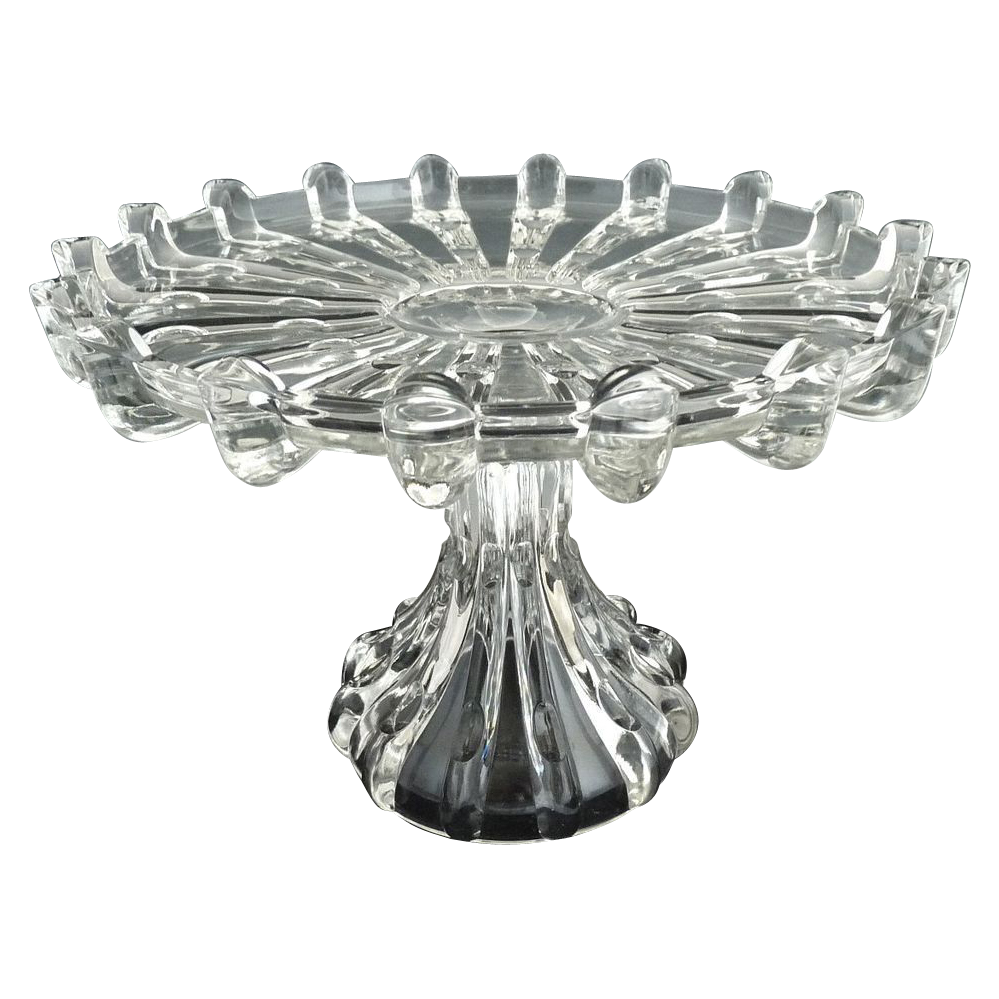 Antique glass cake stand Columbia Glass Broken Column c. 1888
