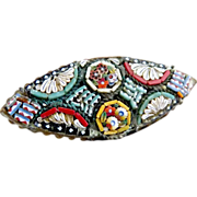Antique Italian mosaic glass brooch flowers c. 1900