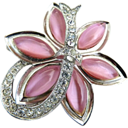Vintage jelly belly brooch rhinestone flower c. 1950s