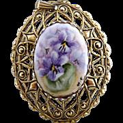 Vintage porcelain brooch pendant hand painted filigree