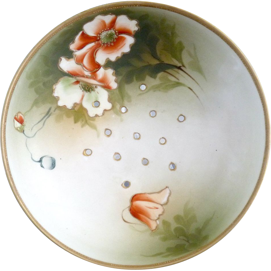 Noritake berry strainer bowl orange poppies Japan c. 1910