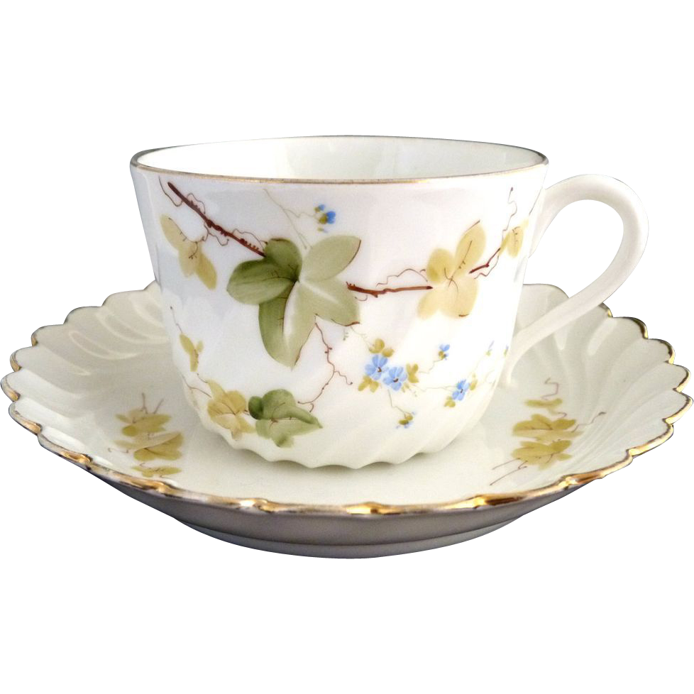 Italian fine porcelain tea cup and saucer hand painted Ginori
