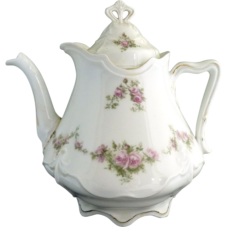 Victorian porcelain teapot pink roses Ohme c. 1892