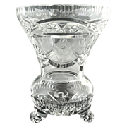 Vintage cut glass crystal vase etched roses