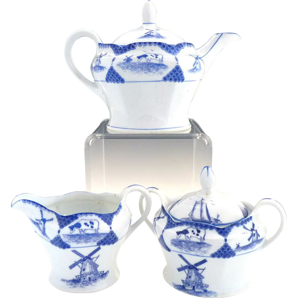 Antique Delft porcelain tea set windmills sailboat cows