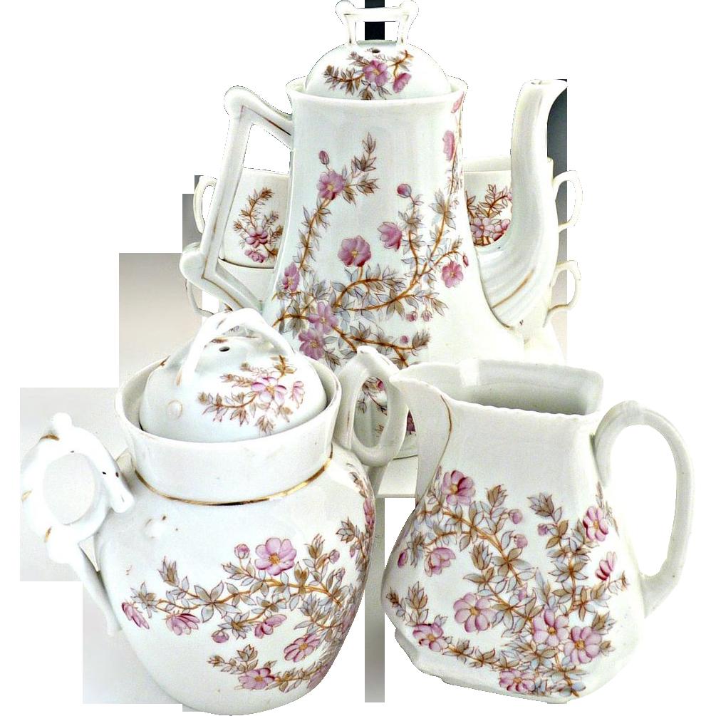 Antique Austria coffee pot set Marx Gutherz pattern #1813