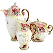 Prussia porcelain chocolate set childs play figural poppies