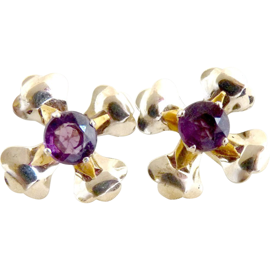Vintage silver earrings flower amethyst center rhinestone