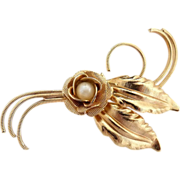 Vintage brooch faux pearl center rose textured finish