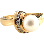 Vintage cultured pearl ring with diamonds 14k gold