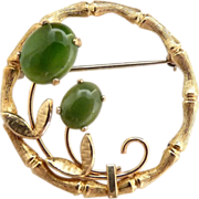 Vintage pin bamboo circle jade cabochon flowers gold filled
