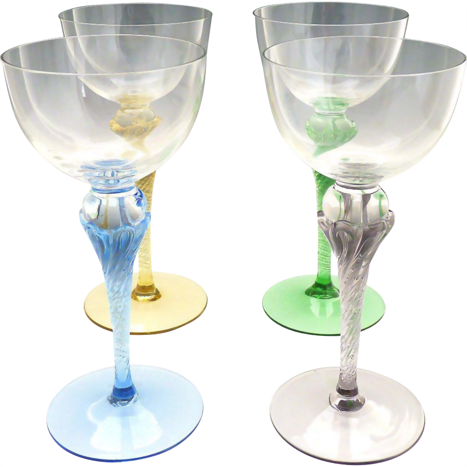Vintage colored stem wine glasses hand blown crystal