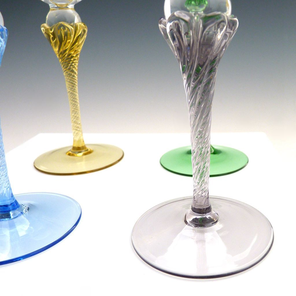 Vintage colored stem wine glasses hand blown crystal from victoriascurio on ruby lane - Hand blown champagne flutes ...