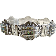 Mexican Sterling bracelet abalone mask links 1940's