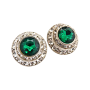 Vintage clip earrings emerald rhinestone