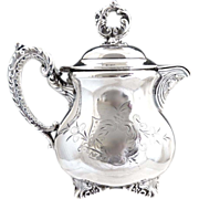 Wallace Silver syrup cream pitcher chased design c. 1880s