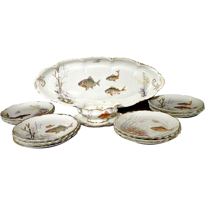Antique porcelain fish set by Rosenthal Versailles pattern complete