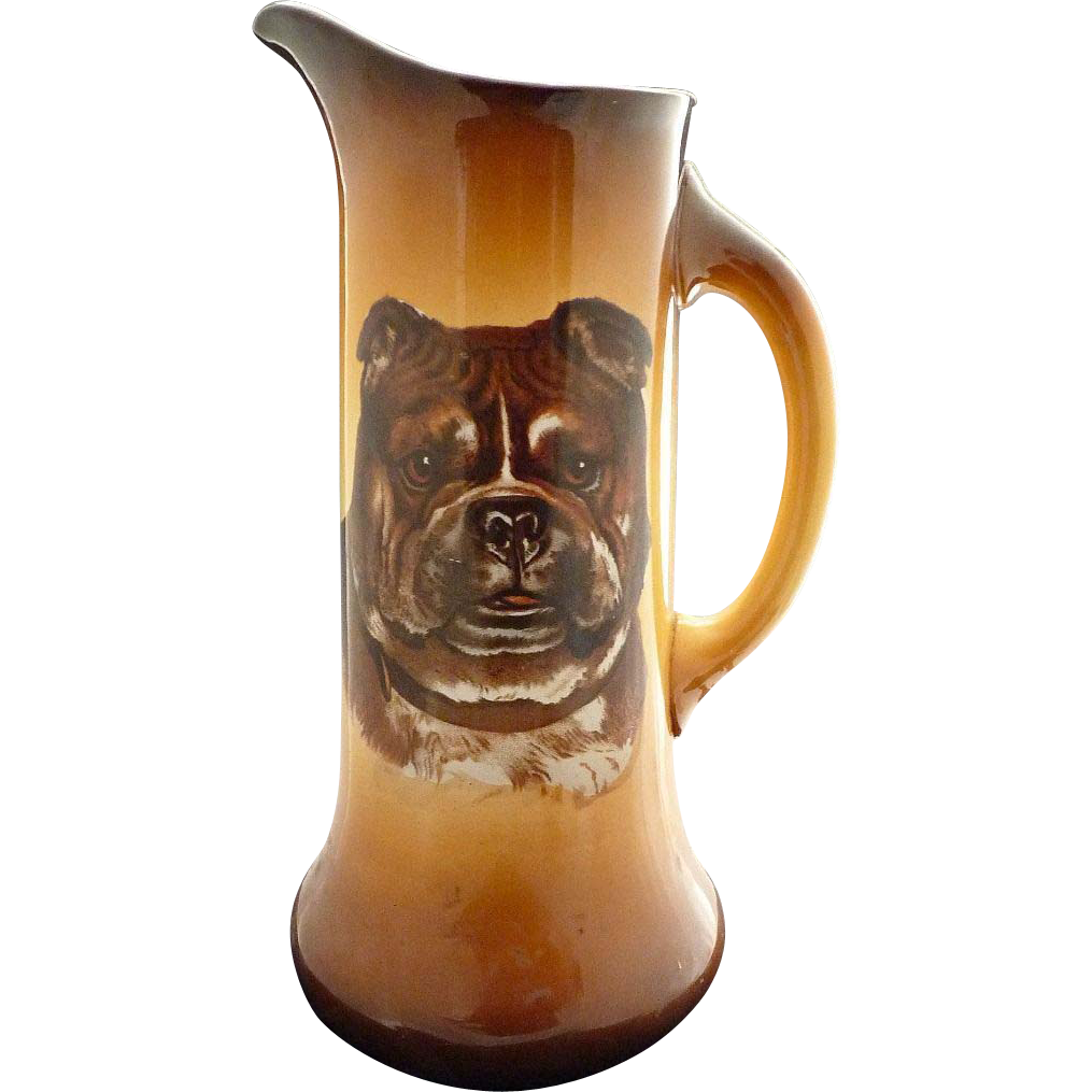 Antique beer tankard American Bulldog portrait Taylor Smith Taylor Pottery c. 1906
