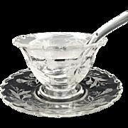 Vintage Fostoria glass mayo bowl underplate Heather etch #343