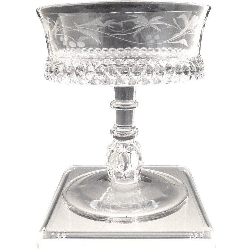 Antique etched glass jelly compote EAPG