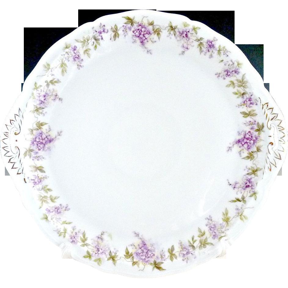Antique Vienna porcelain cake plate Spring lilacs Austria c. 1900