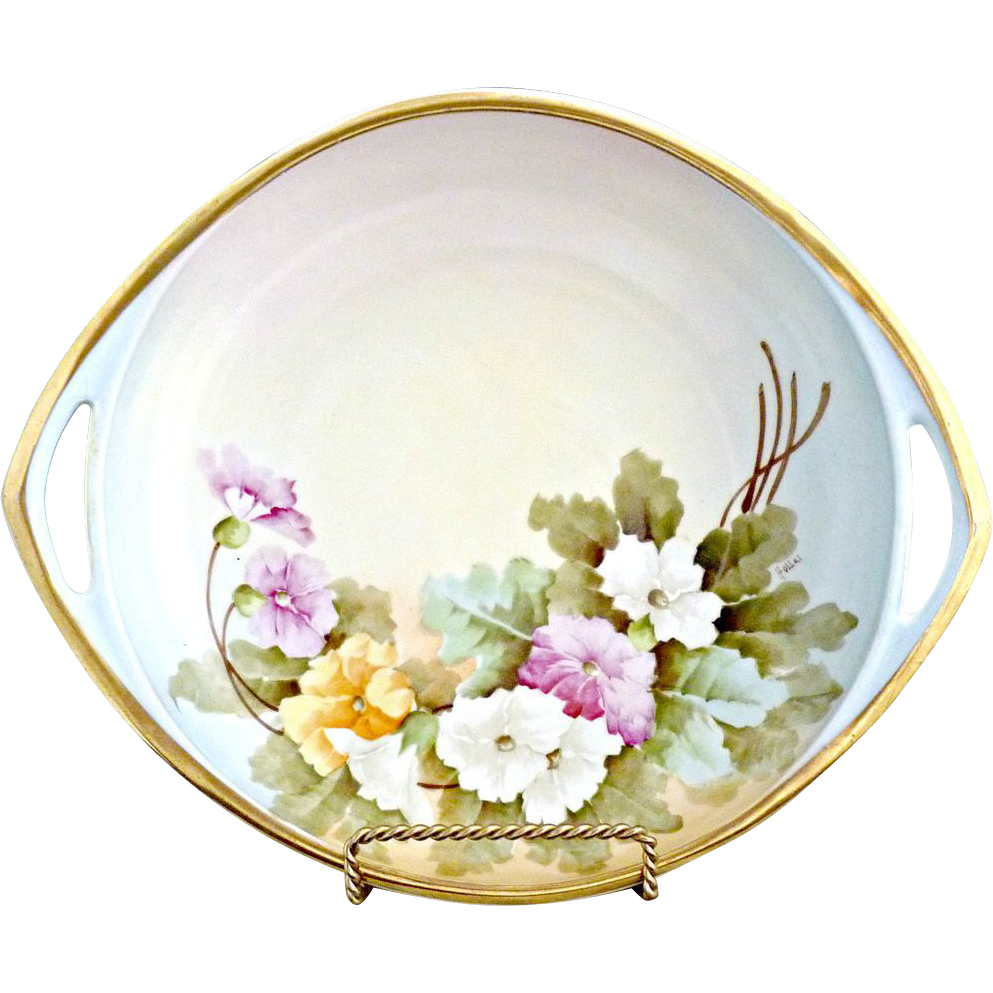 Antique Vienna Austria porcelain bowl Spring flowers gold  c. 1900