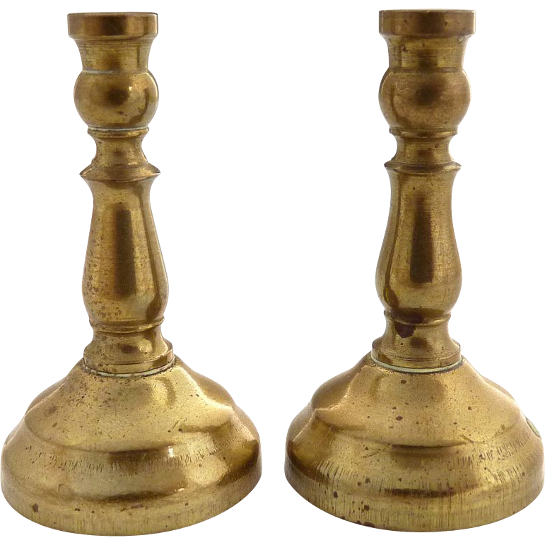 Vintage dollhouse brass candlesticks miniature