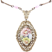 Vintage porcelain pendant necklace filigree enameled flowers