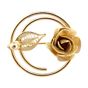 Sarah Coventry rose brooch textured leaves signed